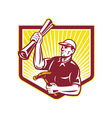 Builder carpenter hold hammer building plan retro vector