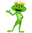Cute prince frog cartoon presenting vector