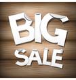Big sale sticker - label on wooden background vector