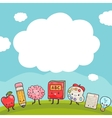 Cute cartoon characters back to school background vector