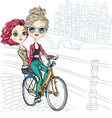 Cute beautiful fashionable girls ride a bike in am vector