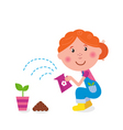 Small girl is watering plant vector