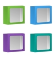 Blank product package box with window set vector