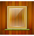 Frame with glass on the wooden background vector