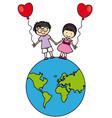 Children walking on the globe vector