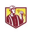 Electrician holding lightning bolt retro vector