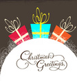 Christmas card with gift vector