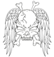 Skull and wings tattoo vector