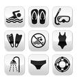 Swimming scuba diving sport buttons set vector