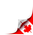 Curled up paper corner on canadian flag background vector