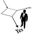 Choose business person decision flowchart vector