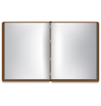 Open book with white pages and brown cover vector