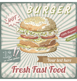 Fresh fast food burger vector