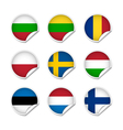 Flag stickers set 3 vector
