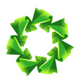 7 green recycling arrows button vector