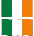 Flat and waving irish flag vector