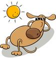 Dog taking sunbath cartoon vector