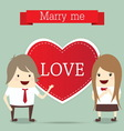 Business man and woman with red heart married wedd vector