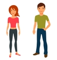 Cute stylish young boy and girl on white vector