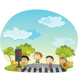 Children crossing street vector