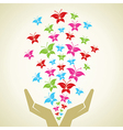 Hand emitted colorful butterflies background vector