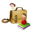 Kids with a school bag vector