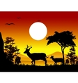 Deer silhouettes with landscape background vector
