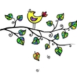 Little yellow bird in leaves vector