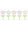 Stylized flowers five different colors vector