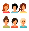 Set of beautiful young girls with various hair vector