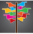 Colorful hand pointing different direction vector
