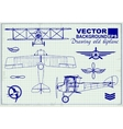 Vintage airplanes drawing on graph paper vector