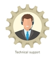 Technical support man with headphones vector