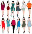 12 fashion models silhouettes set vector