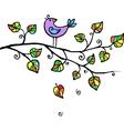 Little violet bird in leaves vector