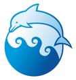 Dolphin jumping symbol vector