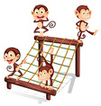 Four playful monkeys vector