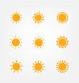Orange sun symbols set vector