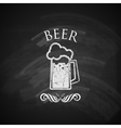Vintage beer pint glass with chalkboard texture vector
