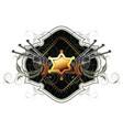 Sheriff star with guns ornate frame vector