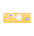 Airplane parachute hot air balloon helicopter vector