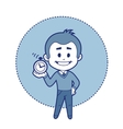 Character man with alarm clock vector