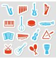 Music instruments stickers vector