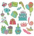 Hand drawn birthday celebrations vector
