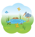 Nature with blue lake vector