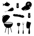 Set of barbecue related icons food grill tools vector