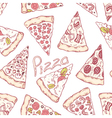Hand drawn different pizza slices seamless pattern vector