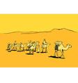 Camel caravan in the desert vector
