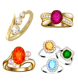 Ring set with precious stones on whit vector