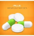 Different pills on yellow vector
